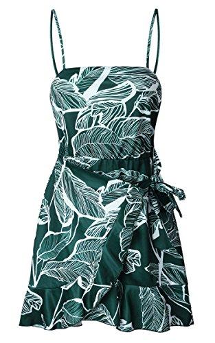ECOWISH Blumenkleid Damen Sommerkleider Kurz Ärmellos Strandkleider Partykleid Träger Rückenfreies kleider Grün XL - 5