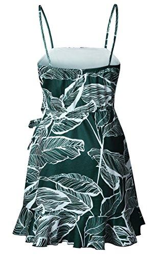 ECOWISH Blumenkleid Damen Sommerkleider Kurz Ärmellos Strandkleider Partykleid Träger Rückenfreies kleider Grün XL - 6