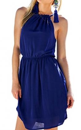 ECOWISH Damen Chiffonkleid Sommerkleid Strandkleid Neckholder beiläufig loses ärmellos Minikleid -