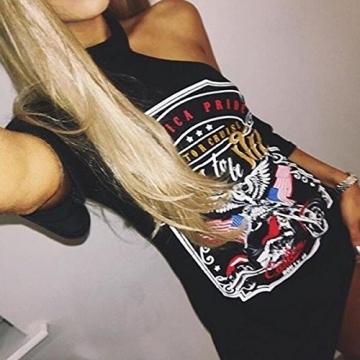 ECOWISH Damen Choker Halsband Minikleid Sommer T-Shirt Kleid Top V Ausschnitt Oberteile Schwarz-geboren, wild zu sein XL -