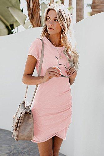 ECOWISH Damen Enges Kleid Sommerkleid Rundhals Kurzarm Kleid Bodycon Unregelmäßig Minikleid Rosa XL - 2