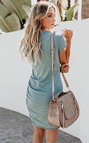 ECOWISH Damen Enges Kleid Sommerkleid Rundhals Kurzarm Kleid Bodycon Unregelmäßig Minikleid Blau S - 4
