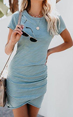 ECOWISH Damen Enges Kleid Sommerkleid Rundhals Kurzarm Kleid Bodycon Unregelmäßig Minikleid Blau S - 5