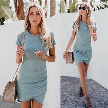 ECOWISH Damen Enges Kleid Sommerkleid Rundhals Kurzarm Kleid Bodycon Unregelmäßig Minikleid Blau S - 6