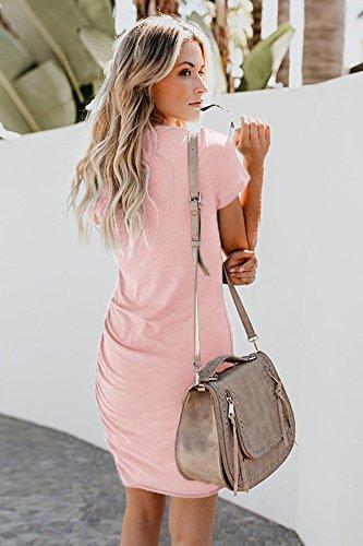 ECOWISH Damen Enges Kleid Sommerkleid Rundhals Kurzarm Kleid Bodycon Unregelmäßig Minikleid Rosa XL - 3