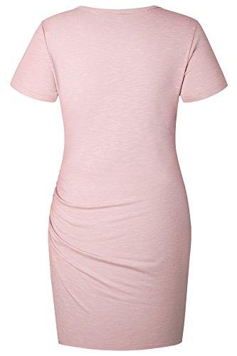 ECOWISH Damen Enges Kleid Sommerkleid Rundhals Kurzarm Kleid Bodycon Unregelmäßig Minikleid Rosa XL - 6