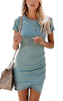 ECOWISH Damen Enges Kleid Sommerkleid Rundhals Kurzarm Kleid Bodycon Unregelmäßig Minikleid Blau S - 1