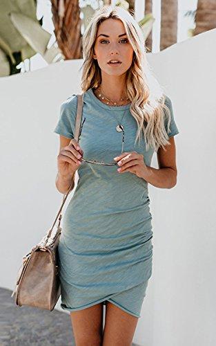 ECOWISH Damen Enges Kleid Sommerkleid Rundhals Kurzarm Kleid Bodycon Unregelmäßig Minikleid Blau S - 2