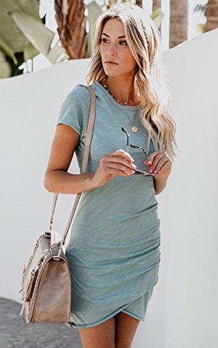 ECOWISH Damen Enges Kleid Sommerkleid Rundhals Kurzarm Kleid Bodycon Unregelmäßig Minikleid Blau S - 3