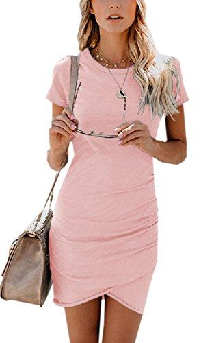 ECOWISH Damen Enges Kleid Sommerkleid Rundhals Kurzarm Kleid Bodycon Unregelmäßig Minikleid Rosa XL - 1