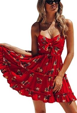 ECOWISH Damen Kleid Blumenkleid Sommerkleider Spaghetti-Bügel Bowknot Rückenfrei A-Linie Kleider Rot XL - 1