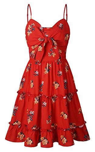 ECOWISH Damen Kleid Blumenkleid Sommerkleider Spaghetti-Bügel Bowknot Rückenfrei A-Linie Kleider Rot XL - 5
