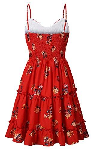 ECOWISH Damen Kleid Blumenkleid Sommerkleider Spaghetti-Bügel Bowknot Rückenfrei A-Linie Kleider Rot XL - 6