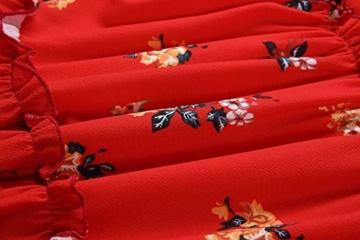 ECOWISH Damen Kleid Blumenkleid Sommerkleider Spaghetti-Bügel Bowknot Rückenfrei A-Linie Kleider Rot XL - 7
