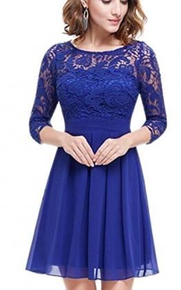 ECOWISH Damen Kleid Freizeitkleid Spitzenkleid Elegant Rundhals Knielang Hochzeit Partykleid -