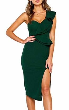 ECOWISH Damen Kleid Sexy Rückenfrei Cocktailkleid Eine Schulter Partykleid Asymmetrisch Ärmellos Rüschen Schlitz Bodycon Knielang Grün M - 1