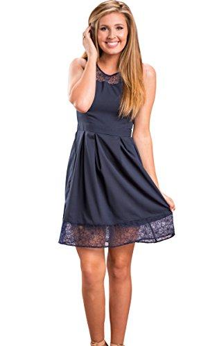 ECOWISH Damen Kleid Sommerkleid Freizeitkleid Cocktailkleid Lace Spitzen