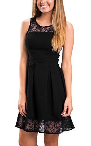 ECOWISH Damen Kleid Sommerkleid Freizeitkleid Cocktailkleid Lace Spitzen Elegant Ärmellos Rundhals Knielang -