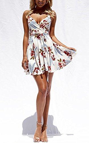 ECOWISH Damen Kleid Sommerkleid V-Ausschnitt Ärmellos Blumendruck Spaghetti Strap Mini Swing Strandkleid Mit Gürtel Weiß M - 2