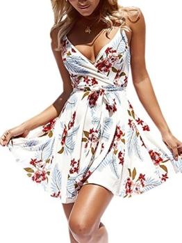 ECOWISH Damen Kleid Sommerkleid V-Ausschnitt Ärmellos Blumendruck Spaghetti Strap Mini Swing Strandkleid Mit Gürtel Weiß M - 1