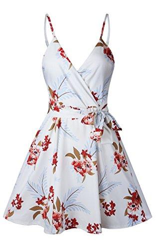 ECOWISH Damen Kleid Sommerkleid V-Ausschnitt Ärmellos Blumendruck Spaghetti Strap Mini Swing Strandkleid Mit Gürtel Weiß M - 4
