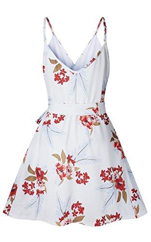 ECOWISH Damen Kleid Sommerkleid V-Ausschnitt Ärmellos Blumendruck Spaghetti Strap Mini Swing Strandkleid Mit Gürtel Weiß M - 5