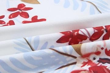 ECOWISH Damen Kleid Sommerkleid V-Ausschnitt Ärmellos Blumendruck Spaghetti Strap Mini Swing Strandkleid Mit Gürtel Weiß M - 6