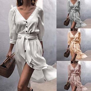 ECOWISH Damen Kleider V-Ausschnitt 3/4 Arm Partykleid Sexy Einfarbig Cocktailkleid Button Down Kleid Mit Gürtel Herbst Frühling Grau S - 2