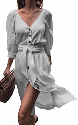 ECOWISH Damen Kleider V-Ausschnitt 3/4 Arm Partykleid Sexy Einfarbig Cocktailkleid Button Down Kleid Mit Gürtel Herbst Frühling Grau S - 1