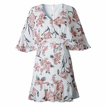 ECOWISH Damen Kleider V-Ausschnitt Sommerkleid Blumen Mini Strandkleid Boho Rüschen Fledermausärmel Freizeitkleider Rosa S - 2