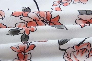ECOWISH Damen Kleider V-Ausschnitt Sommerkleid Blumen Mini Strandkleid Boho Rüschen Fledermausärmel Freizeitkleider Rosa S - 3