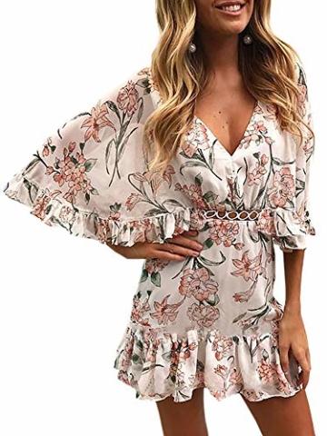 ECOWISH Damen Kleider V-Ausschnitt Sommerkleid Blumen Mini Strandkleid Boho Rüschen Fledermausärmel Freizeitkleider Rosa S - 1