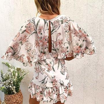 ECOWISH Damen Kleider V-Ausschnitt Sommerkleid Blumen Mini Strandkleid Boho Rüschen Fledermausärmel Freizeitkleider Rosa S - 5