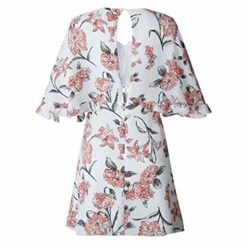 ECOWISH Damen Kleider V-Ausschnitt Sommerkleid Blumen Mini Strandkleid Boho Rüschen Fledermausärmel Freizeitkleider Rosa S - 6