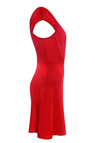 Ecowish Damen V-Ausschnitt Rückenfrei Minikleid Sommerkleid skaterkleid -