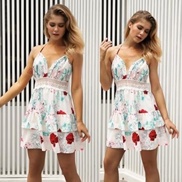 ECOWISH V Ausschnitt Kleid Damen Spitzenkleid Träger Rückenfreies kleider Sommerkleider Strandkleider 983Sahne S - 2