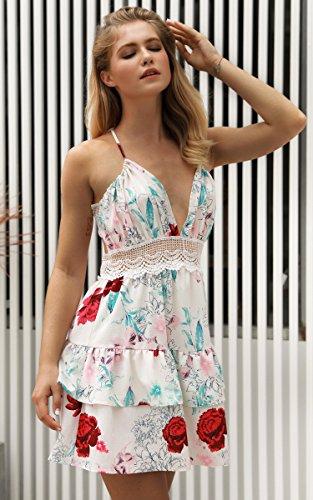 ECOWISH V Ausschnitt Kleid Damen Spitzenkleid Träger Rückenfreies kleider Sommerkleider Strandkleider 983Sahne S - 3