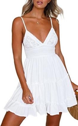 ECOWISH V Ausschnitt Kleid Damen Spitzenkleid Träger Rückenfreies Kleider Sommerkleider Strandkleider Weiß L - 1