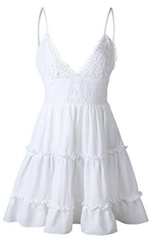ECOWISH V Ausschnitt Kleid Damen Spitzenkleid Träger Rückenfreies Kleider Sommerkleider Strandkleider Weiß L - 2