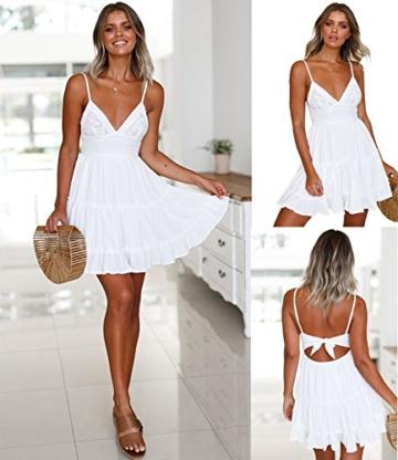 ECOWISH V Ausschnitt Kleid Damen Spitzenkleid Träger Rückenfreies Kleider Sommerkleider Strandkleider Weiß L - 3
