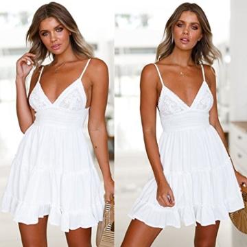 ECOWISH V Ausschnitt Kleid Damen Spitzenkleid Träger Rückenfreies Kleider Sommerkleider Strandkleider Weiß L - 4