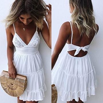ECOWISH V Ausschnitt Kleid Damen Spitzenkleid Träger Rückenfreies Kleider Sommerkleider Strandkleider Weiß L - 5