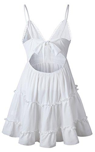 ECOWISH V Ausschnitt Kleid Damen Spitzenkleid Träger Rückenfreies Kleider Sommerkleider Strandkleider Weiß L - 6