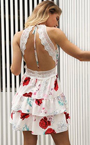 ECOWISH V Ausschnitt Kleid Damen Spitzenkleid Träger Rückenfreies kleider Sommerkleider Strandkleider 983Sahne S - 7