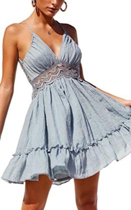 ECOWISH V Ausschnitt Kleid Damen Spitzenkleid Träger Rückenfreies kleider Sommerkleider Strandkleider Hellblau XL - 1