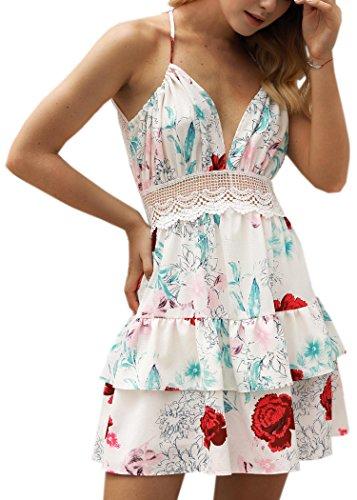 ECOWISH V Ausschnitt Kleid Damen Spitzenkleid Träger Rückenfreies kleider Sommerkleider Strandkleider 983Sahne S - 1