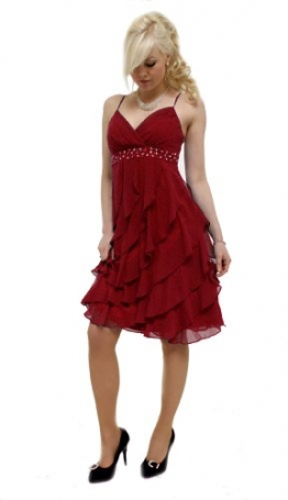 Edles Volant Cocktailkleid Rot 34 (R885) Sofort lieferbar -