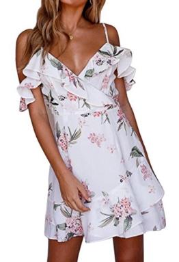 Eforyou Damen Ärmellos Kurz Sommerkleider Blumenmuster Strandkleider Casual Mini Schulter Kleider - 1