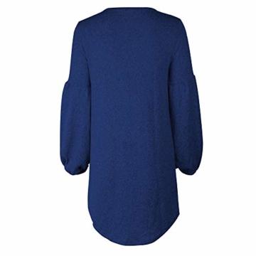 Elecenty Bandage Strickkleid Damen,Reizvolle Frauen Kleider Minikleid Laternenhülse Langarmkleid Solide Abendkleid Winter Herbstkleid Hochzeitskleider Partykleid (EU-38/CN-XL, Blau 2) - 3
