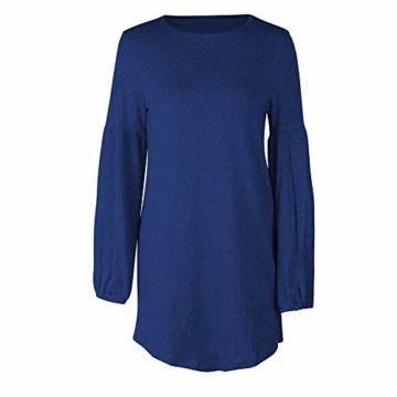Elecenty Bandage Strickkleid Damen,Reizvolle Frauen Kleider Minikleid Laternenhülse Langarmkleid Solide Abendkleid Winter Herbstkleid Hochzeitskleider Partykleid (EU-38/CN-XL, Blau 2) - 5